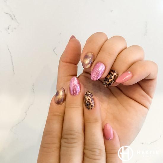 melbourne mobile nails pink leopard print glitter 1