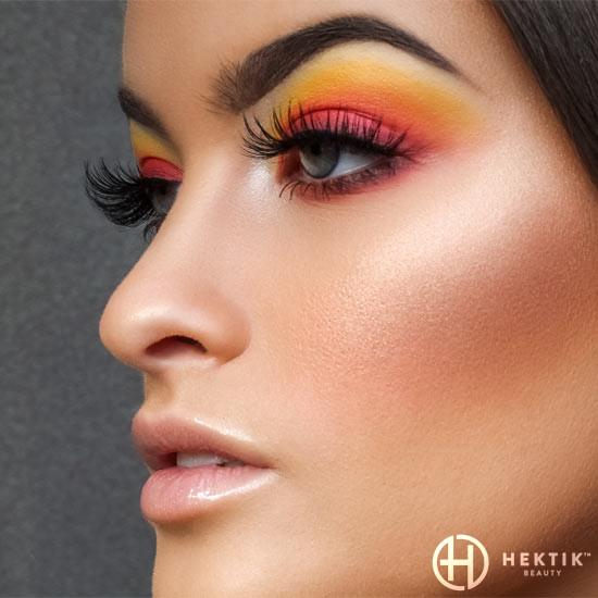 Sunset orange red yellow eyeshadow makeup look 1