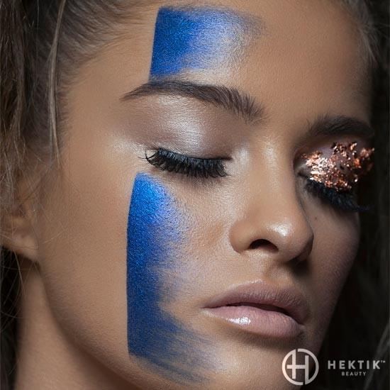 blue stripe editorial makeup look 1