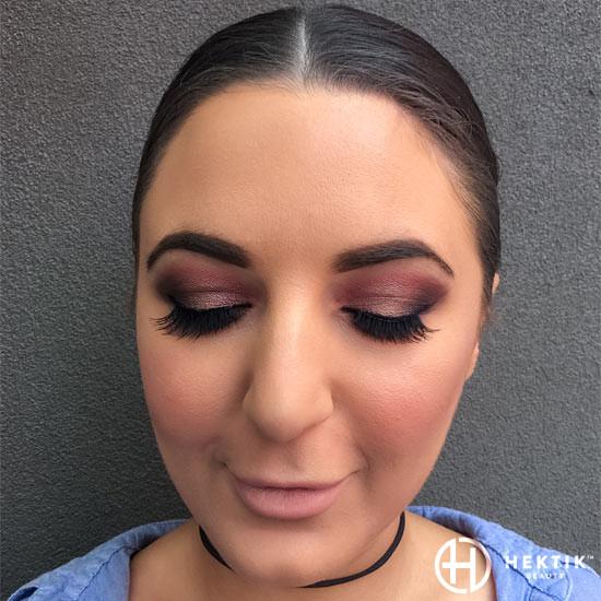 burgundy glam makeup smokey eye 3