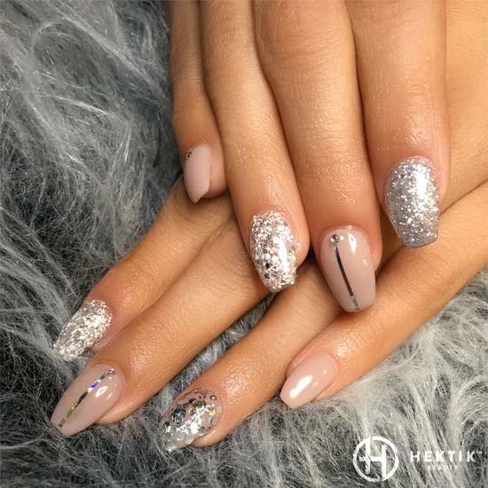 melbourne mobile nails swarovski glitter nude silver bridal