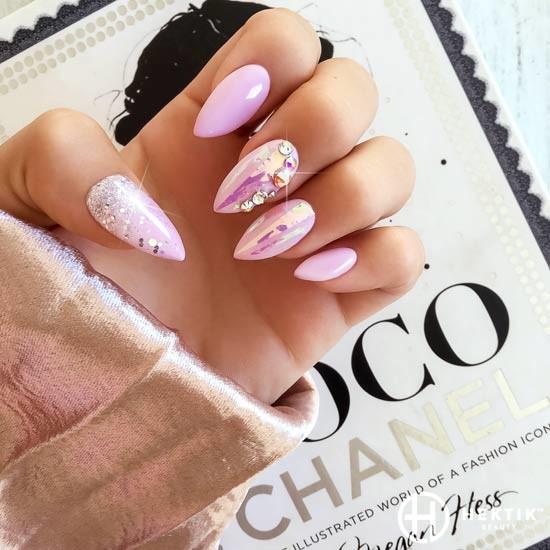 melbourne mobile nails swarovski glitter pink silver holographic 2