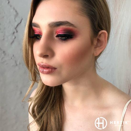 red shimmery smokey eye 2